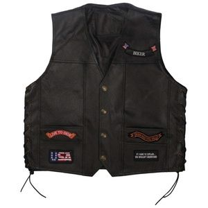 BLIKE LEATHER VEST 14 PATCHES